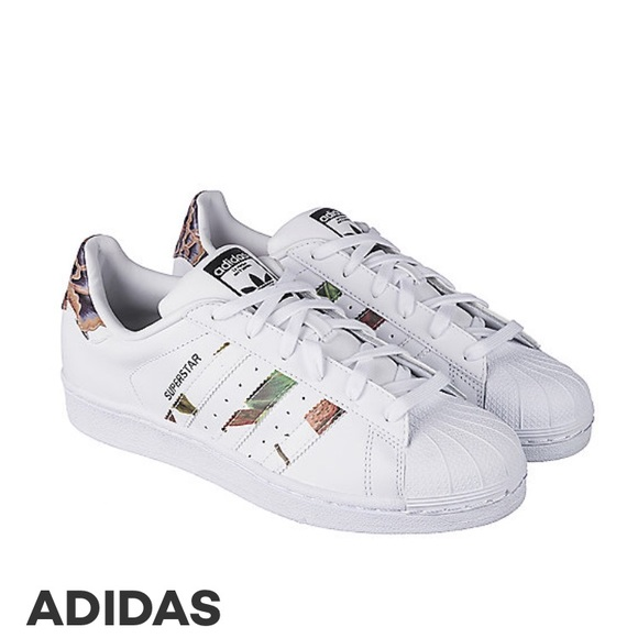 Adidas Superstar white floral shoes